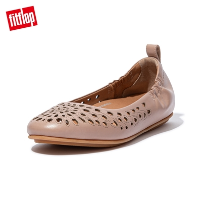 【FitFlop】ALLEGRO LASER-CUT FLORAL BALLERINAS 經典芭蕾舞鞋-女(米色)