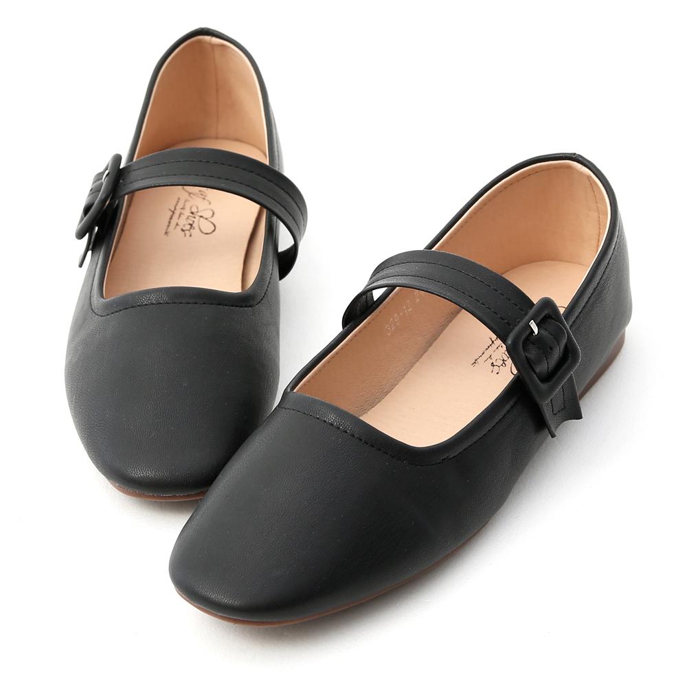 D+AF 樂活女孩.素面方頭瑪莉珍平底鞋*黑