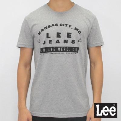 Lee 短袖T恤 文字印刷-男款-麻花灰