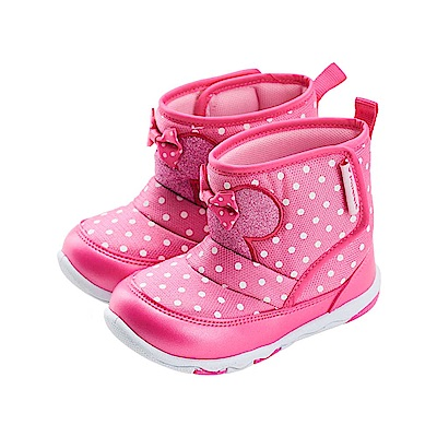 迪士尼童鞋 米妮 魔鬼氈輕量中筒靴-桃