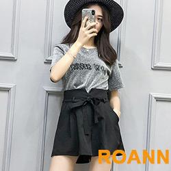 英文刺繡金蔥T恤+高腰闊腿短褲兩件套 (黑色)-ROANN