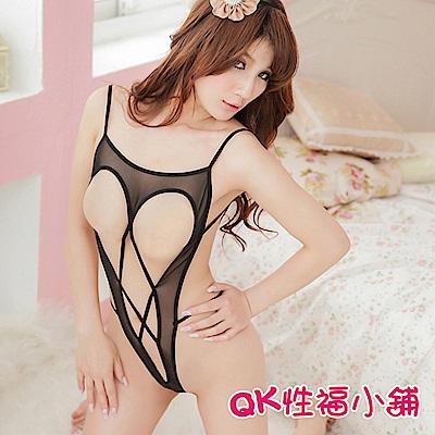 QK性福小舖 套裝性感露乳連體衣透視三點 QK093