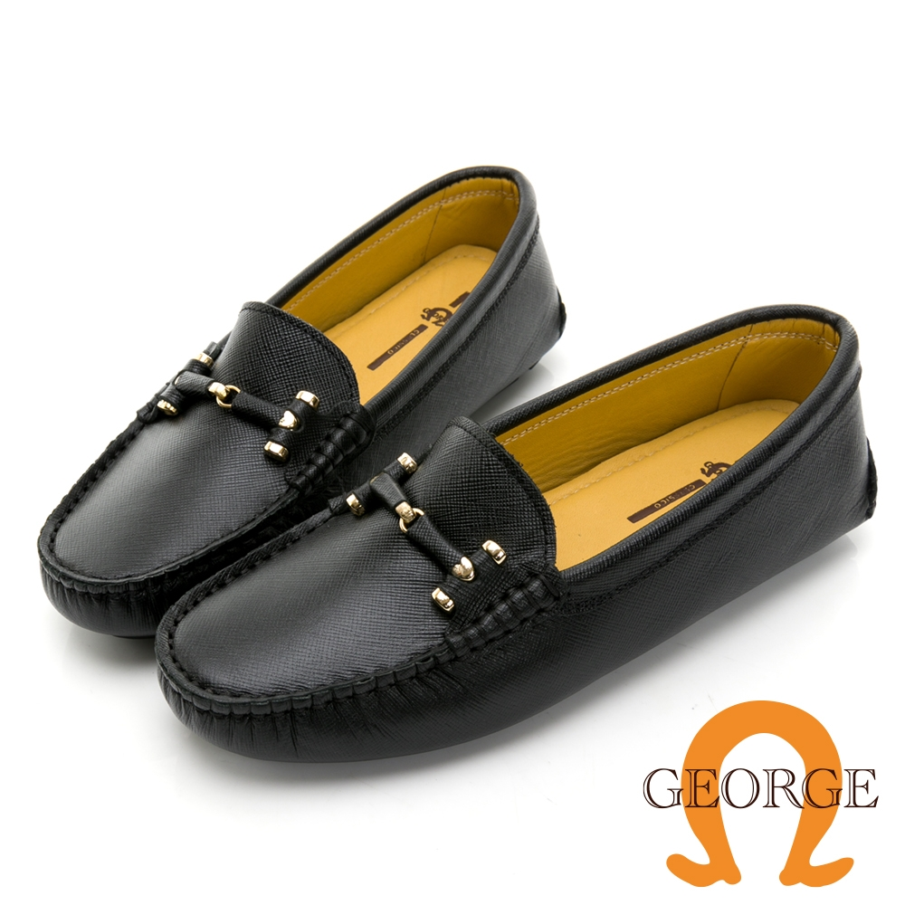 GEORGE 喬治皮鞋真皮十字壓紋皮革條釦樂福鞋 -黑 031007BJ