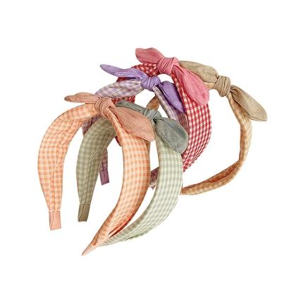 Baby童衣 學院風小青新格紋兔耳髮箍 女孩髮飾 88803