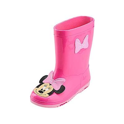 迪士尼 米妮 經典大臉造型 中筒雨鞋-桃