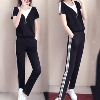 【韓國K.W.】(預購)夏日秘密拉鍊條紋運動套裝褲-2色