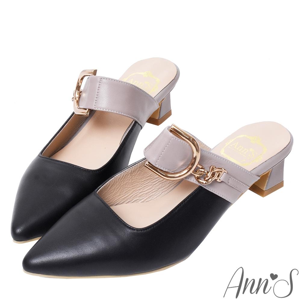 Ann'S小羊皮雙配色彎月金扣穆勒粗跟尖頭鞋-黑灰(版型偏小)
