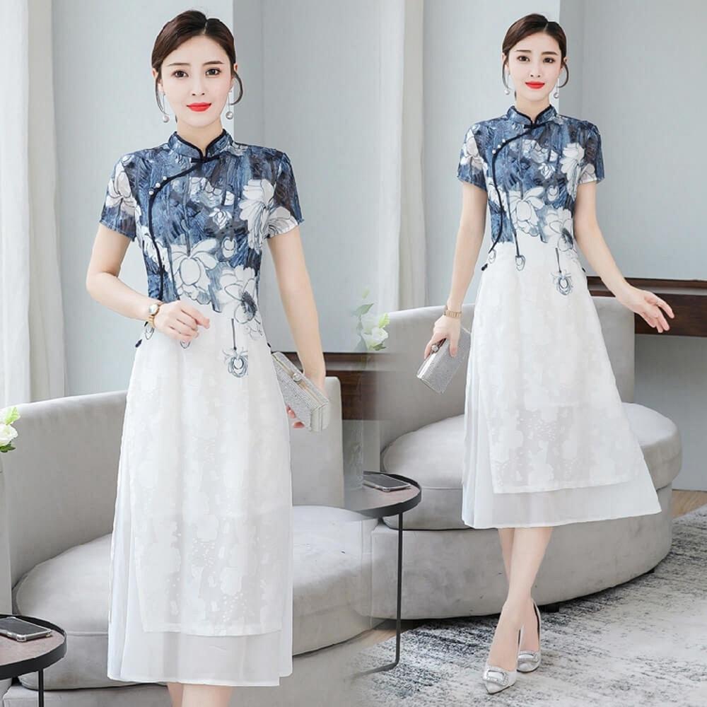 典雅復古印花旗袍領改良式顯瘦中國風洋裝M-3XL-REKO