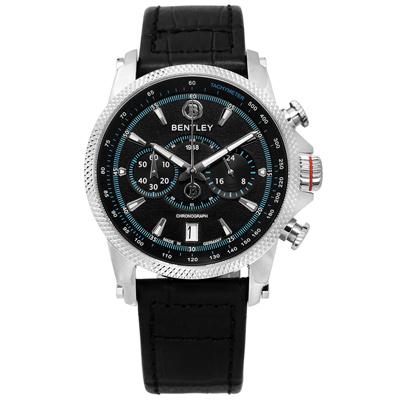 BENTLEY 賓利 德國製造 藍寶石水晶玻璃 日期 計時 壓紋真皮手錶-黑色/42mm
