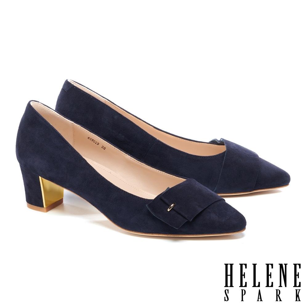 高跟鞋 HELENE SPARK 內斂時尚金屬點綴全真皮高跟鞋-藍