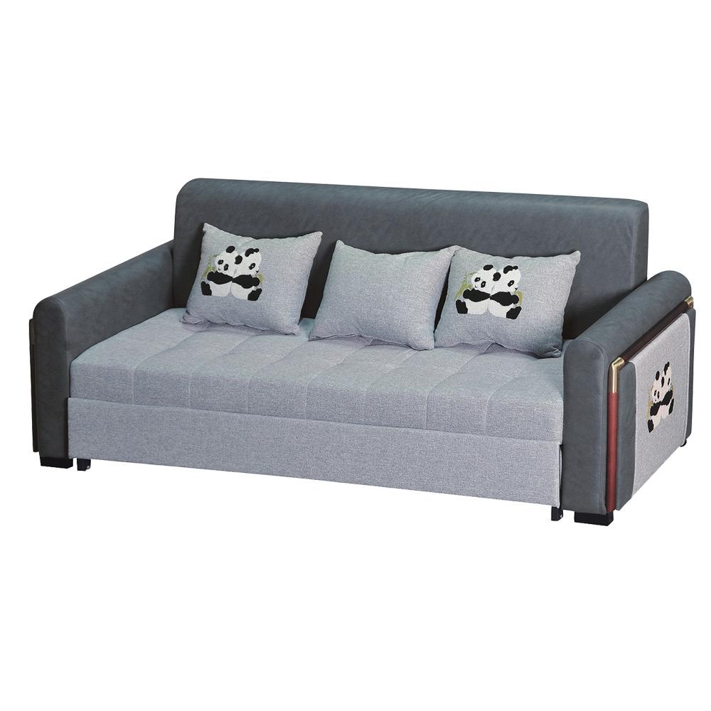 綠活居 麥克雙色棉麻布多功能沙發/沙發床(拉合機能設計)-230x132x64.5cm免組