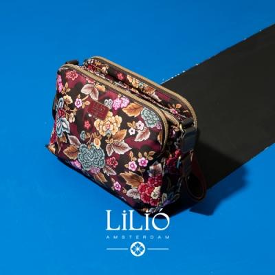 【LILIO】栗色_拉鏈式雙夾層斜背包_簡約生活_WINTER  POPPY