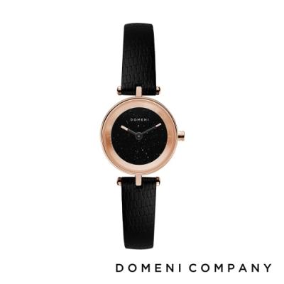 DOMENI COMPANY 星空錶盤系列 義大利小牛皮錶帶 玫瑰金錶框 -黑/22mm