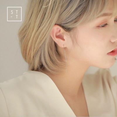 梨花HaNA S925純銀簡約耳線U型流蘇耳環