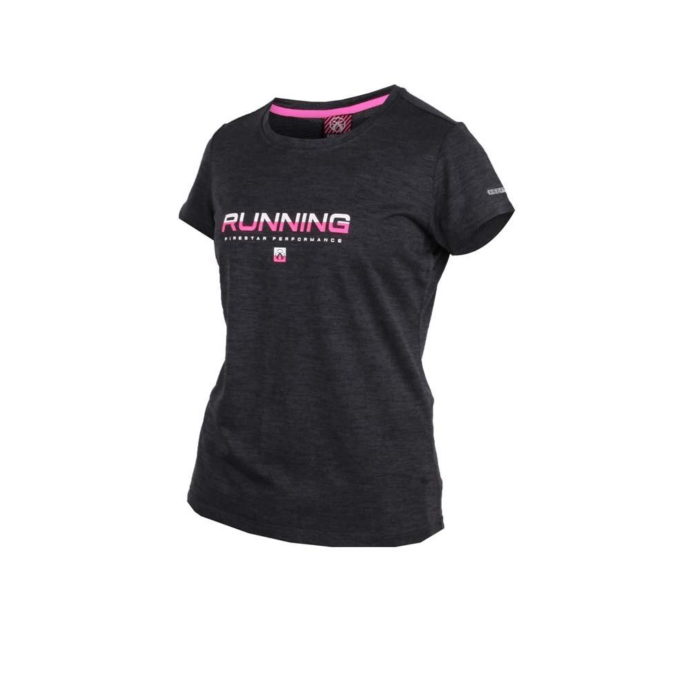 FIRESTAR 女吸濕排汗圓領短袖T恤-慢跑 路跑 深灰亮粉白