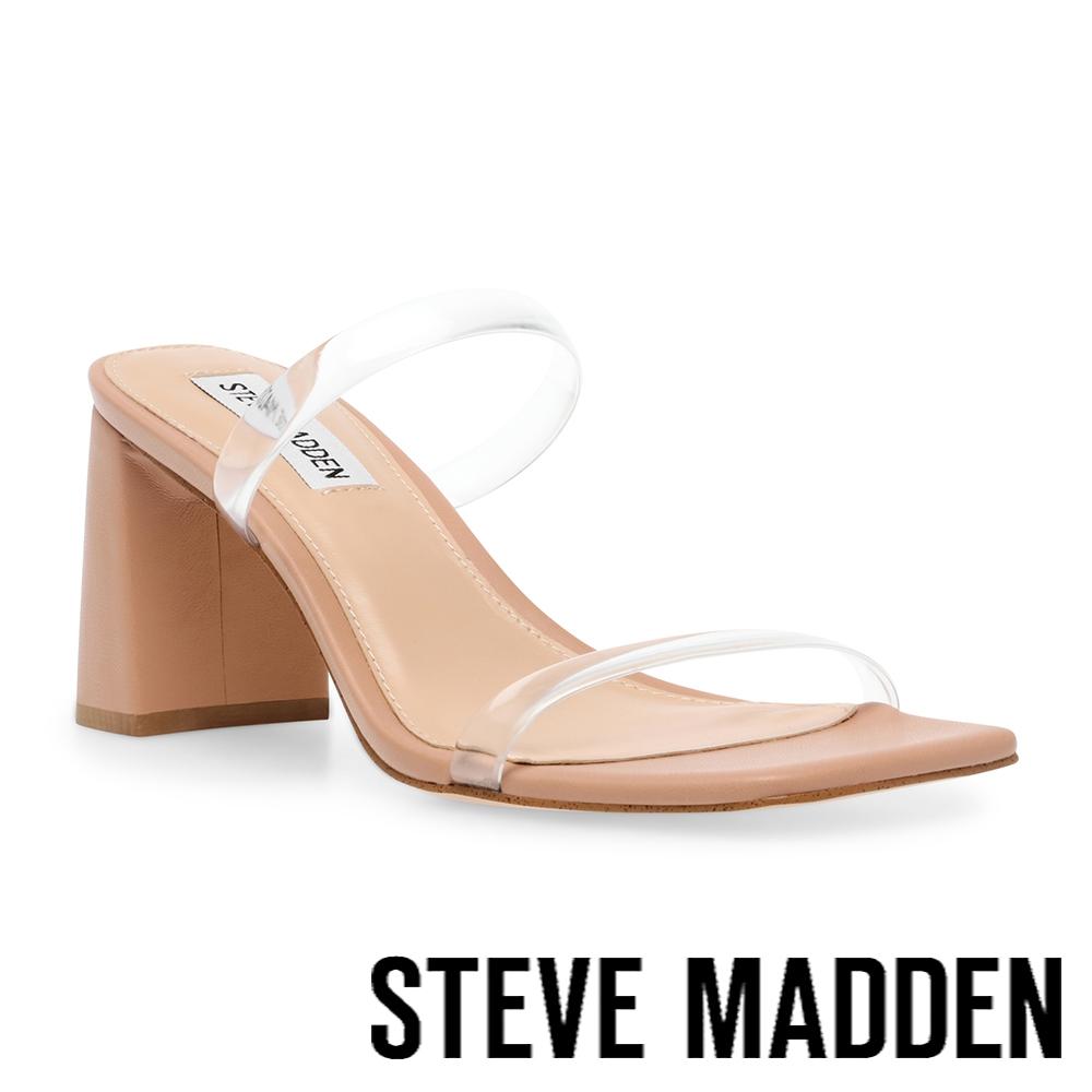 STEVE MADDEN-LILAH 雙帶粗跟涼拖鞋-透明