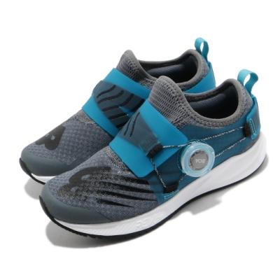 New Balance 慢跑鞋 Revlite BOA 寬楦 童鞋  輕量 透氣 中童 灰 藍 PKRVLGB2W