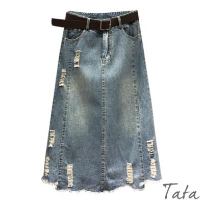 抽鬚刷色磨破牛仔裙 TATA-(S~XL)