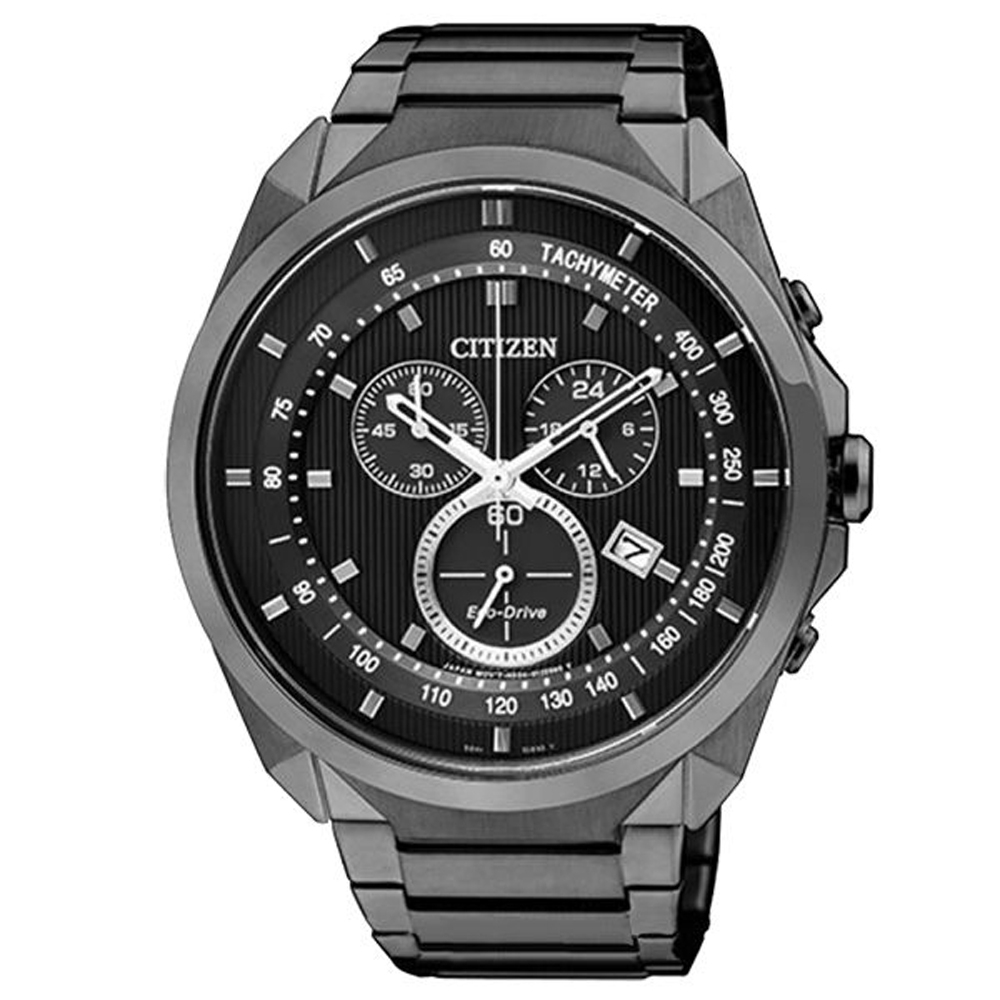 CITIZEN 率性雅爵光動能三環腕錶(黑)-AT2155-58E-44mm