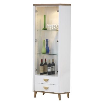 【AT HOME】北歐簡約2尺雙色展示櫃/客廳櫃/收納櫃(愛琴海)
