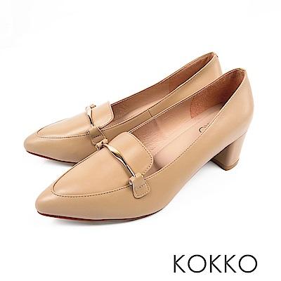 KOKKO  - 唯美之境金扣牛皮粗高跟樂福鞋-柔紗杏