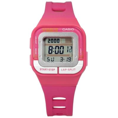 CASIO 10年電力 慢跑運動  電子 橡膠手錶 桃紅色 SDB-100-4A 34mm