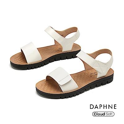 達芙妮DAPHNE 涼鞋-簡約原色一字帶舒軟休閒涼鞋-白色