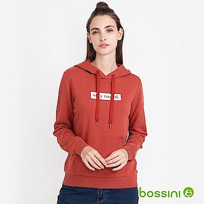 bossini女裝-連帽厚棉T恤暗紅色