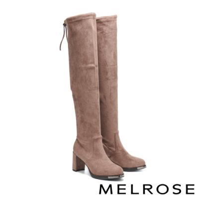 長靴 MELROSE 魅力時尚彈力麂布後繫帶高跟過膝靴-杏