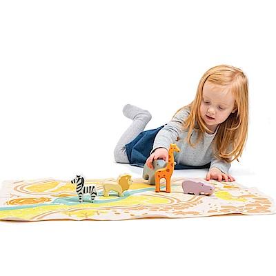 Tender Leaf Toys木製家家酒玩具-非洲動物遊戲場景墊含小動物玩具