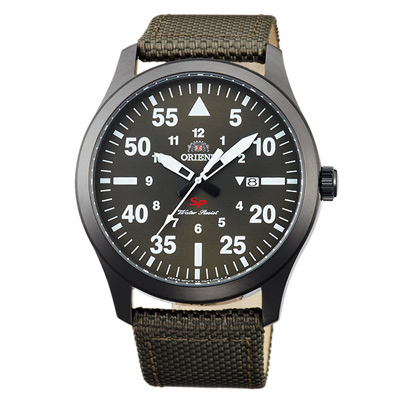 ORIENT東方SP飛行運動尼龍帶時尚手錶FUNG2004F-綠X黑框/42mm