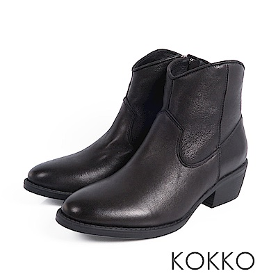KOKKO - 冬日顯瘦擦色綿羊皮短靴-經典黑