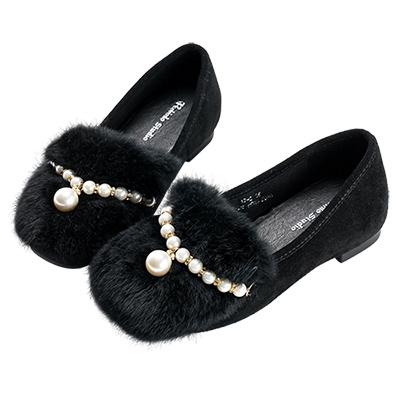 Robinlo浪漫女孩珍珠毛絨平底鞋 黑