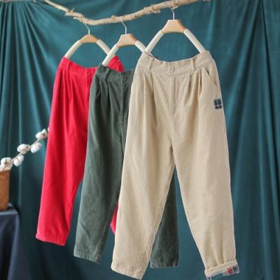工裝風素色貼布燈芯絨鬆緊腰寬鬆九分褲-設計所在