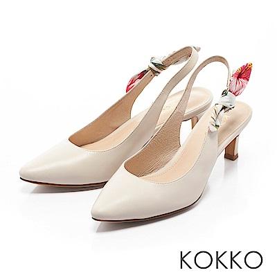 KOKKO -午後時光後拉帶兩穿蝴蝶結高跟鞋-椰奶白
