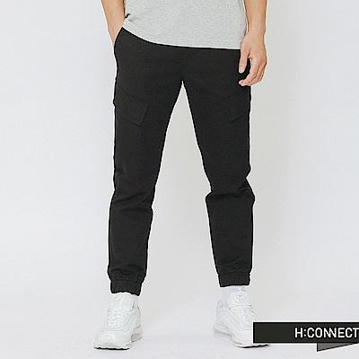 H:CONNECT 韓國品牌 男裝-口袋設計休閒束口褲-黑