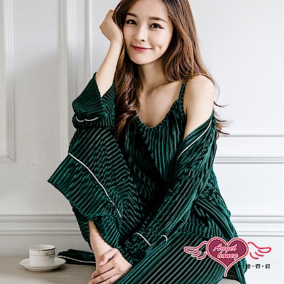 居家睡衣 自在無拘 三件式罩衫休閒睡衣組(綠F) AngelHoney天使霓裳