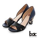 【bac】紐約不夜城 - 寬版不對襯一字帶中空撞色高跟鞋-藍色