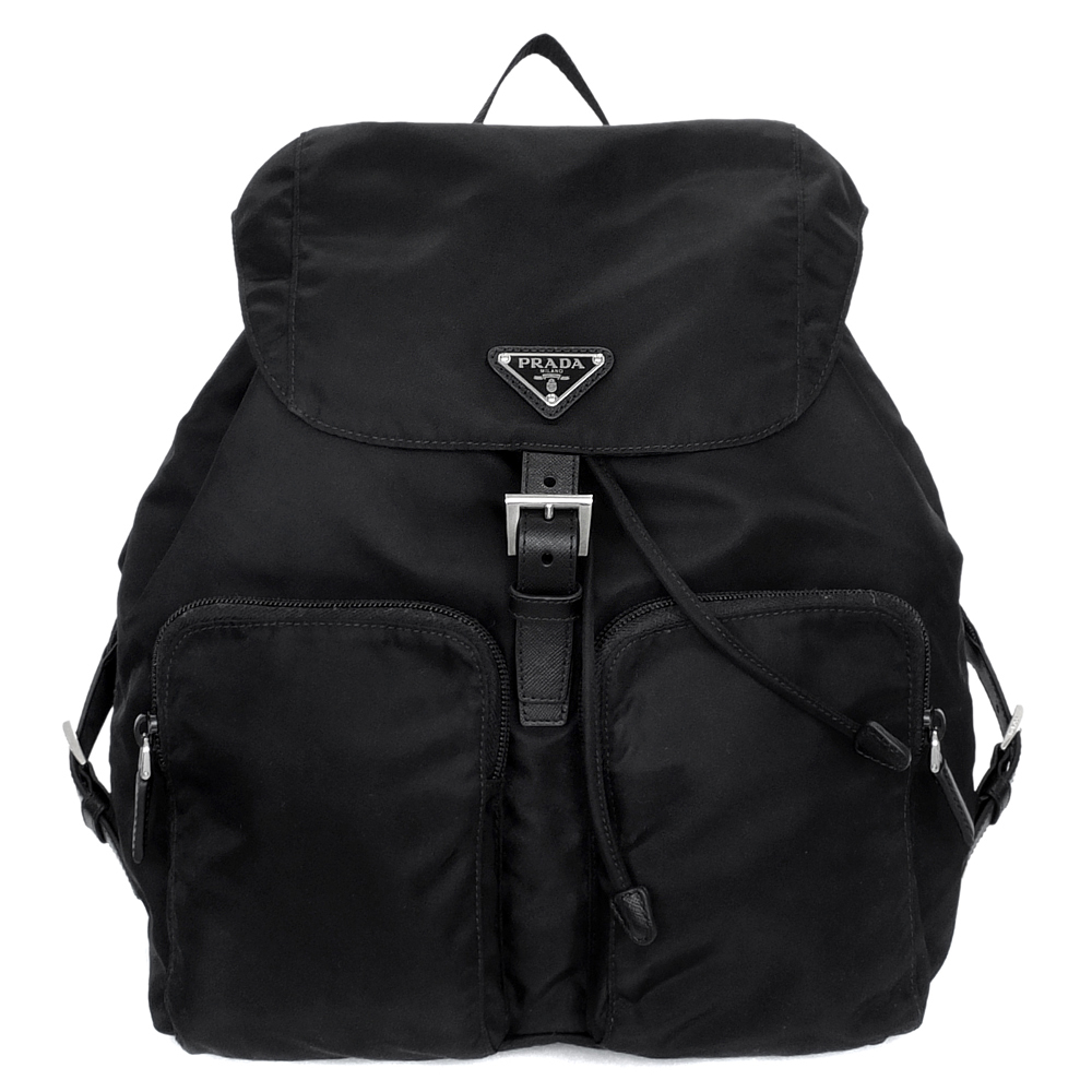 PRADA尼龍三角飾牌皮革扣式內抽繩雙口袋後背包(黑色)