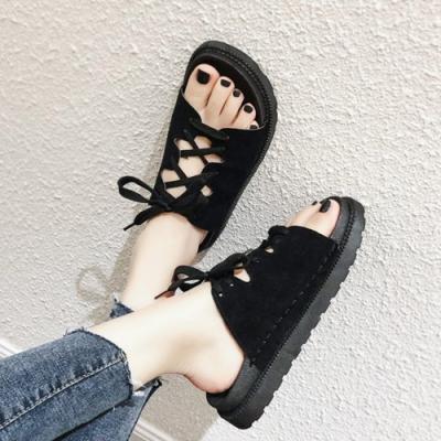 KEITH-WILL時尚鞋館 時尚穿搭俐落綁帶拖鞋-黑