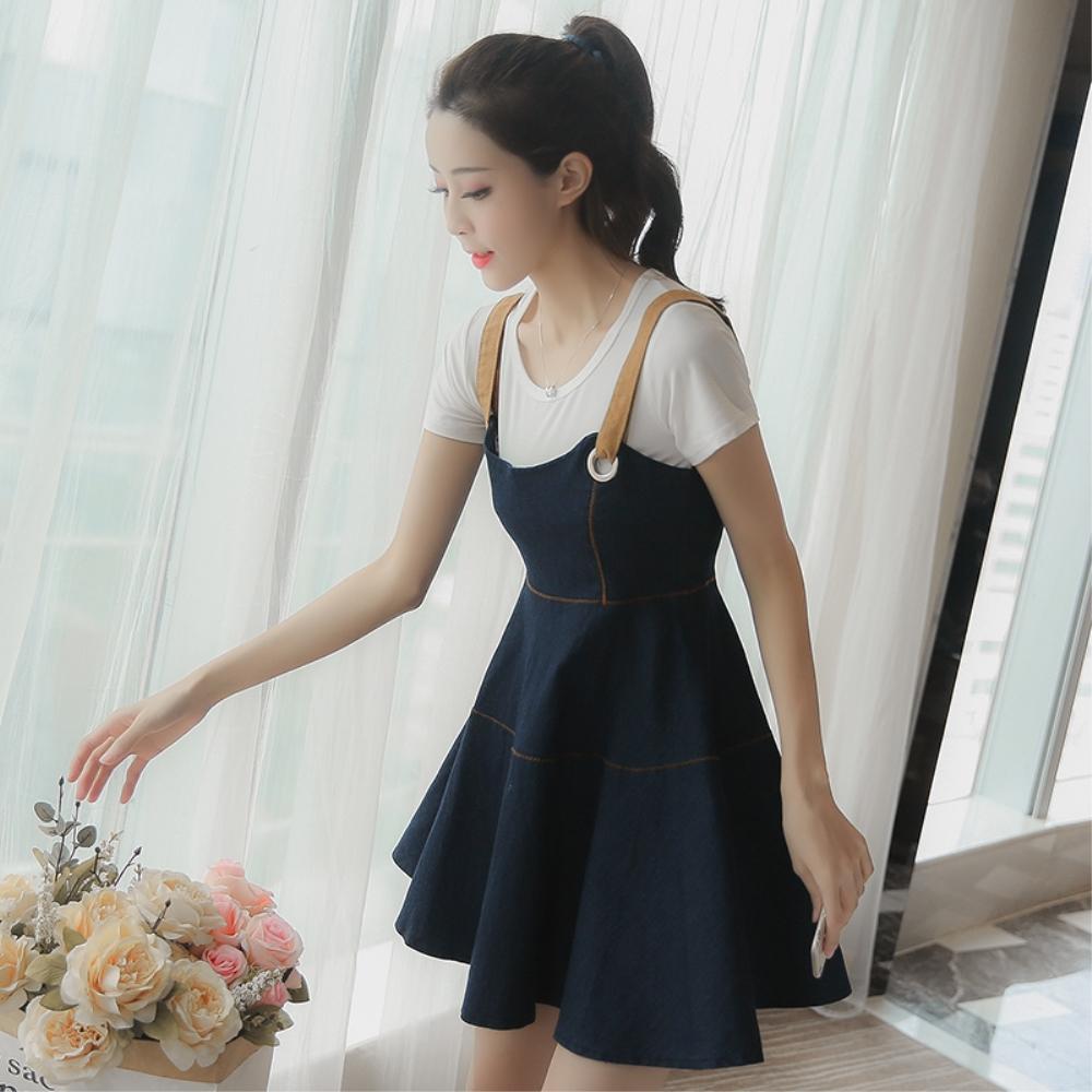 DABI 韓系短袖T恤細肩帶牛仔背帶裙套裝短袖裙裝