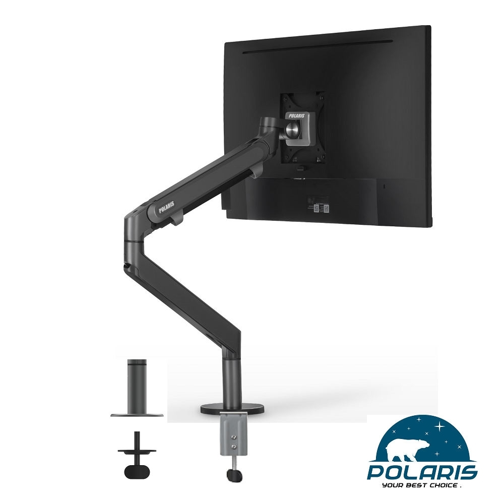 Polaris P01-DBu 氣壓臂 單螢幕架 , 鋁合金 夾穿桌二用 (鋼鐵灰)