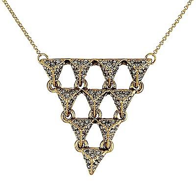 House of Harlow 1960 水晶飾邊 多層立體金字塔 金色項鍊 附原廠袋