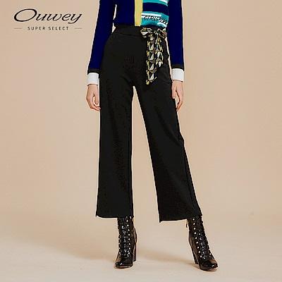 OUWEY歐薇 絲巾裝飾四面彈微寬褲(黑)