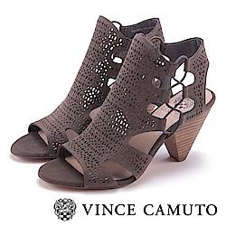 VINCE CAMUTO 氣質簍空刻紋魚口高跟鞋-灰色