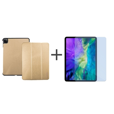 Metal-Slim Apple iPad Pro 11吋 (第2代) 2020 高仿小牛皮三折立架式保護皮套+抗藍光玻璃貼-璀璨金