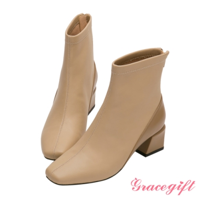 Grace gift-素面撞色中跟短靴 卡其