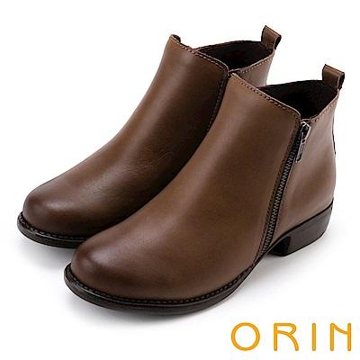 ORIN 經典復古 牛皮雙拉鏈低跟短靴-棕色
