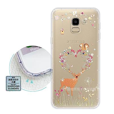 EVO Samsung Galaxy J6 異國風情 水鑽空壓氣墊手機殼(小鹿松...