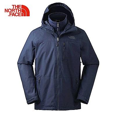 The North Face北面男款深藍色防水透氣三合一夾克|3KT3H2G